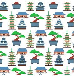 Flat colored symbols of japan travel vector