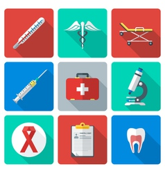 flat design medical icons set vector image
