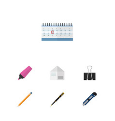 flat icon tool set of paper clip letter marker vector image