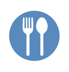 Fork and spoon icon placed in blue circle vector