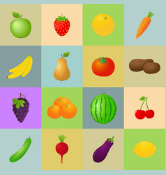 fruits and vegetables icons set vector image