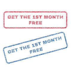 get the 1st month free textile stamps vector image