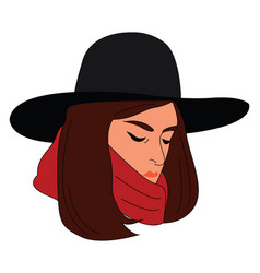 girl with black hat on white background vector image