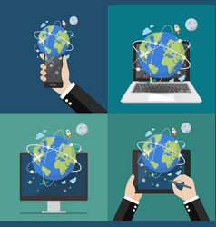 global network connection technology vector image