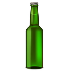 green bottle of beer mockup realistic style vector image