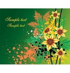 Green Grunge Floral Design vector