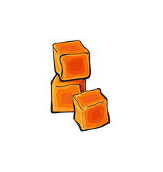 Hand-drawn cheddar cheese cubes sketch style vector