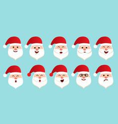 happy and sad face santa claus with white beard vector image