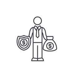 happy rich businessman line icon concept happy vector image