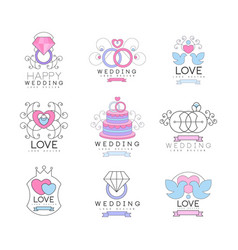 happy wedding and love set for logo design vector image
