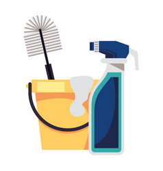 Housekepping bucket tool with splash bottle and vector