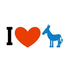 I love Democrat Symbol of heart and donkey Poster vector image vector image