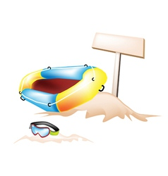 Inflatable Boat and Scuba Mask with Wooden Placard vector