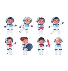 Kids astronauts cute cartoon children characters vector