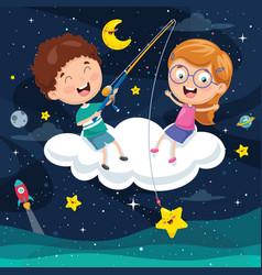 Kids sitting on cloud vector