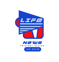 life news logo design social mass media emblem vector image