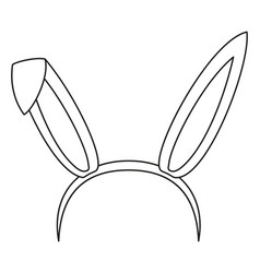 Line art black and white bunny party ears vector
