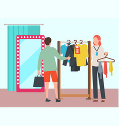 man choosing clothes in fashion boutique vector image