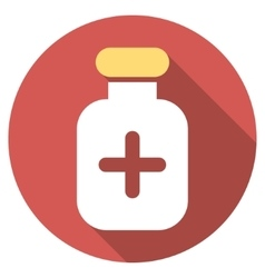 Medication Vial Flat Round Icon with Long Shadow vector