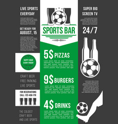 menu poster for soccer bar or football pub vector image