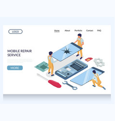 mobile repair service website landing page vector image