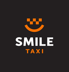 modern professional logo smile taxi in black and vector image