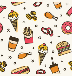 modern seamless pattern with fast food colorful vector image