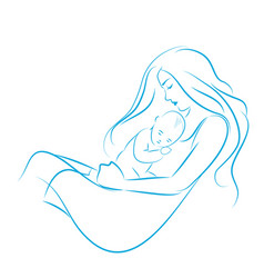 mother with long hair hugging her son on her vector image