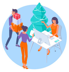 new year in modern office vector image