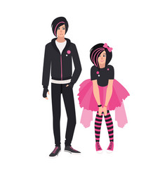 Pair emo kids young man and woman dressed in vector