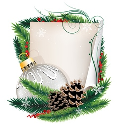 Paper scroll with Christmas ball vector
