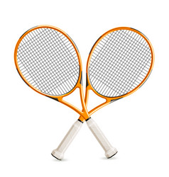 Realistic crossed tennis rackets 3d icon vector