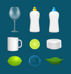 realistic detailed 3d clean dishes and glassware vector image