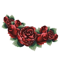 Red Roses with Leaves3 vector