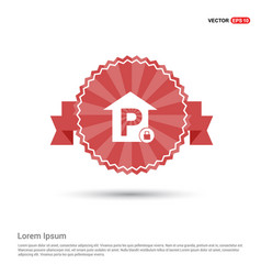 Reserved parking place icon - red ribbon banner vector