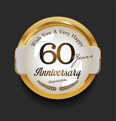 retro vintage style anniversary golden design 60 vector image