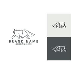 rhino logo line art logo inspiration vector image