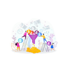 Sales funnel concept tiny people work on customer vector