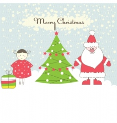 santa and girl vector illustration vector image
