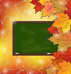 School board with maple leaves autumn background vector image