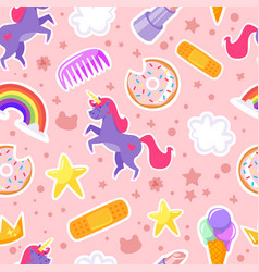Seamless pattern with unicorn stars vector