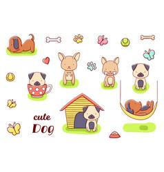 Set cute kawaii hand drawn dog doodles isolated vector