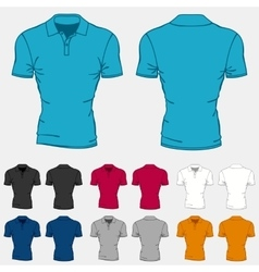 Set of colored polo-shirts templates for men vector