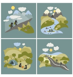 Set of outdoor leisure pictures vector