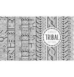 Set of six ethnic seamless patterns tribal vector