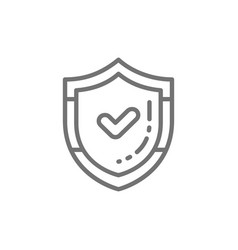 Shield with check mark quality control protection vector