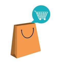 shopping bag and cart bubble vector image