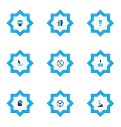 sign icons colored set with step up dust mask vector image