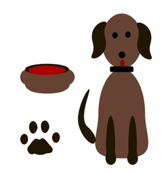 Silhouette dog footprints vector