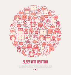 sleep and insomnia concept in circle vector image